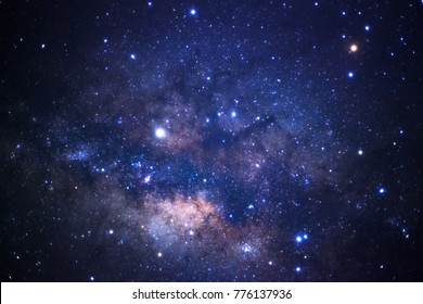 Close up of Milky way galaxy with stars and space dust in the universe