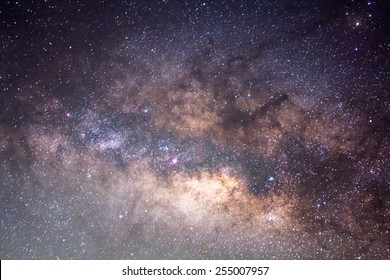 The Close up Of The Milky Way ,Long exposure photograph.
