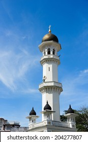 Close up of the minaret of Kapitan Keling Mosque, George Town, Penang - Malaysia
