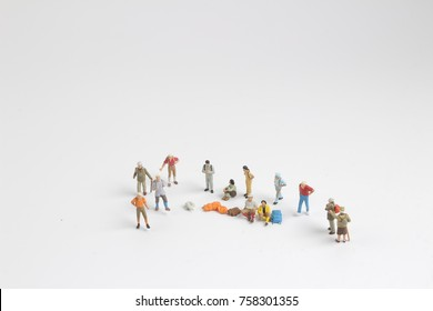 Close up of Mini back packer and tourist people