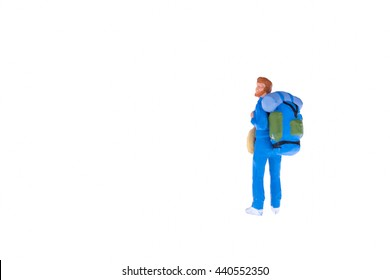 Close up of Miniature backpacker and tourist people isolate on white background.