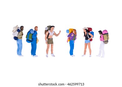 Close up of Miniature backpacker and tourist people isolate on white background. Elegant Design with copy space for placement your text, mock up for travel concept