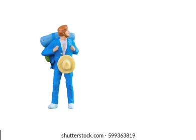 Close up of Miniature backpacker and tourist people isolated with clipping path on white background.Elegant Design with copy space for placement your text, mock up for travel concept
