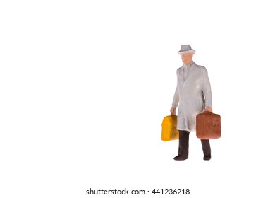 Close up of Miniature businessman and tourist people isolate on white background. Elegant Design with copy space for placement your text, mock up for travel concept