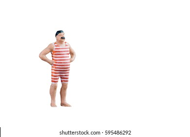 Close up of Miniature fat people isolated with clipping path with copy space on white background.