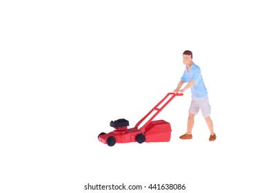 Close up of Miniature gardener people isolate on white background. Elegant Design with copy space for placement your text, mock up for housework and gradening concept