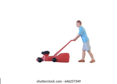 Close up of Miniature gardener people isolate with clipping path on white background.