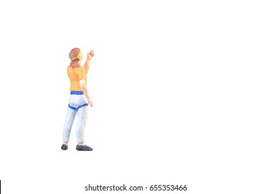 Close up of Miniature people doing climbing sport isolated with clipping path on white background.