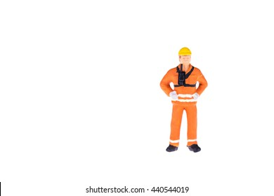 Close up of Miniature people in engineer and worker occupation isolate on white background. Elegant Design with copy space for placement your text, mock up for industrial and construction concept