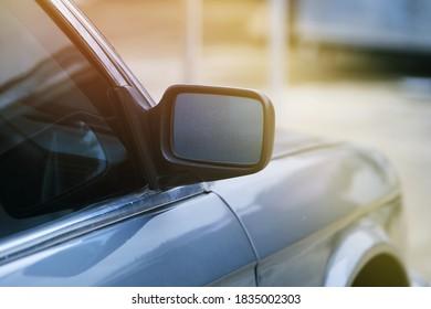 Close up mirror of a car