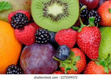 Close up of mix of fruits on background