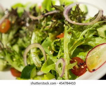 Close up mix vegetable salad on dish in the restaurant (Selective focus)