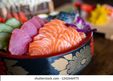 Close up Mixed sashimi, big sashimi plate,Sashimi salmon set, raw fish, japanese food in Asian restuarant .(Selective focus). Vivid color