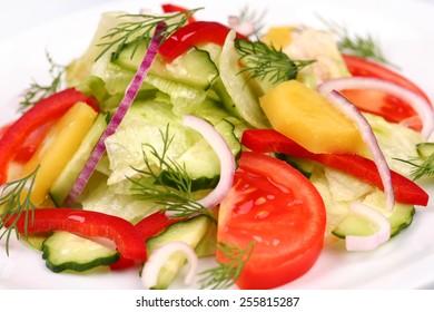 A close up of a mixed vegetable salad