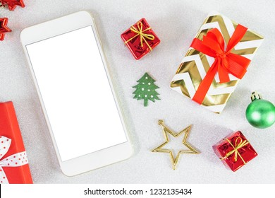 close up mobile smartphone white screen with copy space for text christmas new year theme red