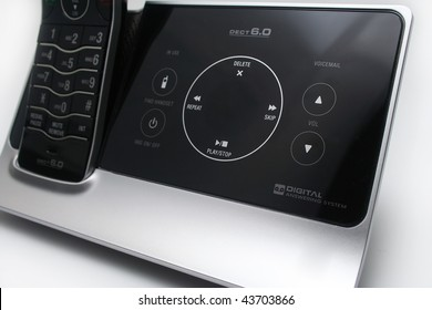 Close up of Modern Black and Silver Answering Machine