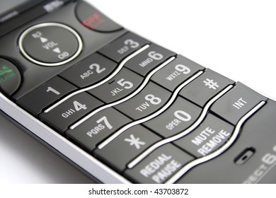 Close Up of Modern Black and Silver Phone Keypad on White Background