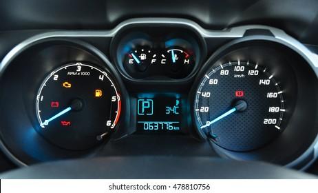 close up modern car dashboard