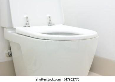 Close up at Modern Ceramic White toilet bowl