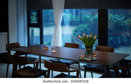 Close up of restaurant?in modern comfortable home interiors