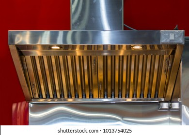 close up modern of kitchen hood made from stainless for exhaust dust and smoke