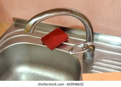 Close up of modern kitchen tap
