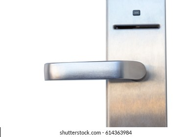 close up Modern metal door left handle with security system lock isolated on white background