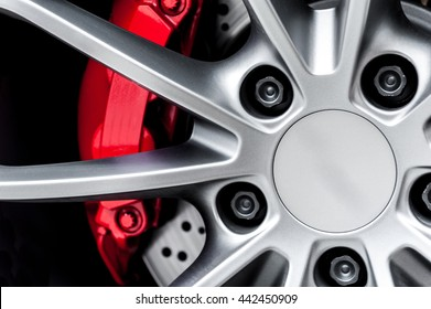Close up of a modern sport wheel with red brake