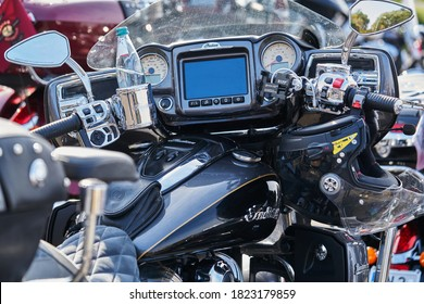 Close up of modern and stylish motorcycle dashboard