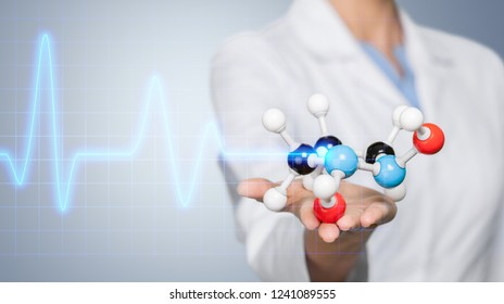 Close up of Molecular structure model in hand on background