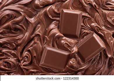 Close up of molten chocolate and pieces of chocolate bar