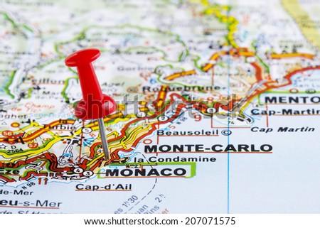 Monte Carlo World Map.Close Monaco Monte Carlo Map Red Pin Stock Photo Edit Now