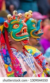 Close up Monk performing Cham Dance at Leh, ladakh, India