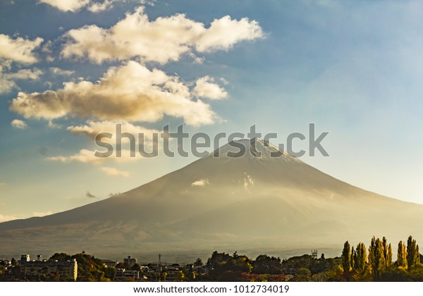 Close up of Month Fuji in a low winter mist, Japan