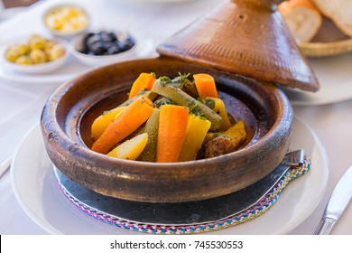 Close up moroccan food- tajine on the table. Selective focus