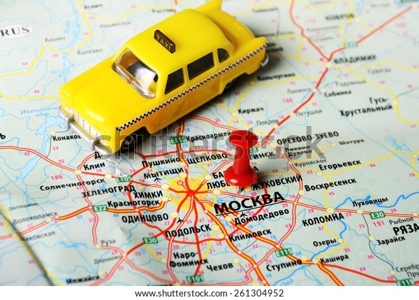 Close Moscow Russia Map Taxi Toy Stock Photo (Edit Now ...