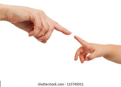 Close up of mother and babies hands pointing with finger .Isolated on white.