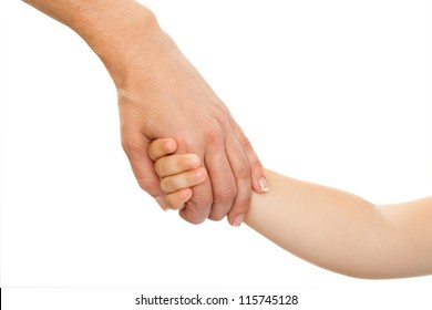 Close up of mothers hand holding babies hand. Isolated on white background.