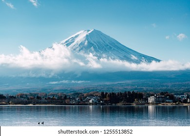 close up mount fuji from lake kawaguchi side, Mt Fuji view from the lake