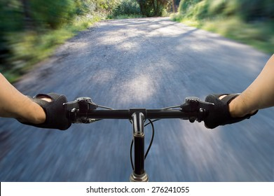 close up of a mountain bike at high speed