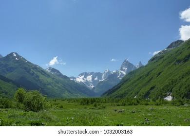 Close up mountains scenes in national park Dombai, Caucasus, Russia, Europe.
