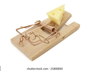 close up of mousetrap with cheese  on white background with clipping path