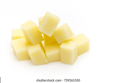 Close Up of Mozzarella Cheese Cubes Isolated on White Background