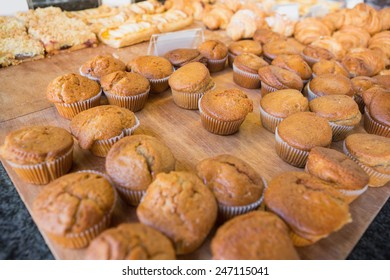 Close up of muffins on counter at the bakery