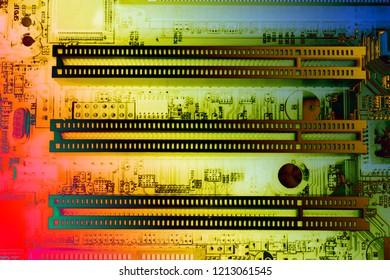 close up multi color mother board computer wth pci express slot