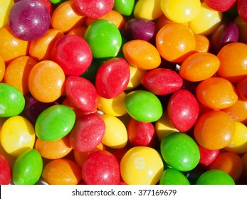 Close up of multicolored Skittles sweets