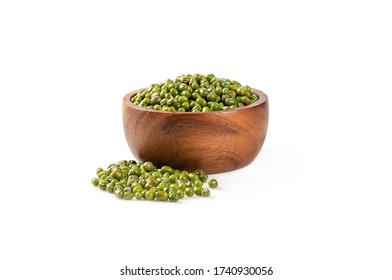 Close up ,Mung beans in wooden bowl isolated on white background.