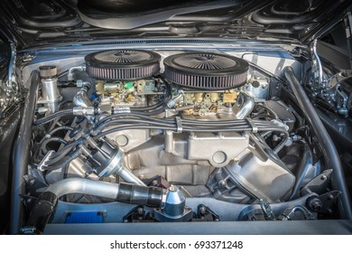 Close up of muscle car engine