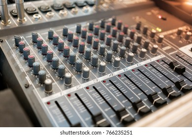 Close up of music mixer equalizer console for mixer control sound device. Sound technician audio mixer equalizer control for background.