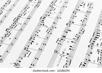 Close up of music sheets for pedal harp